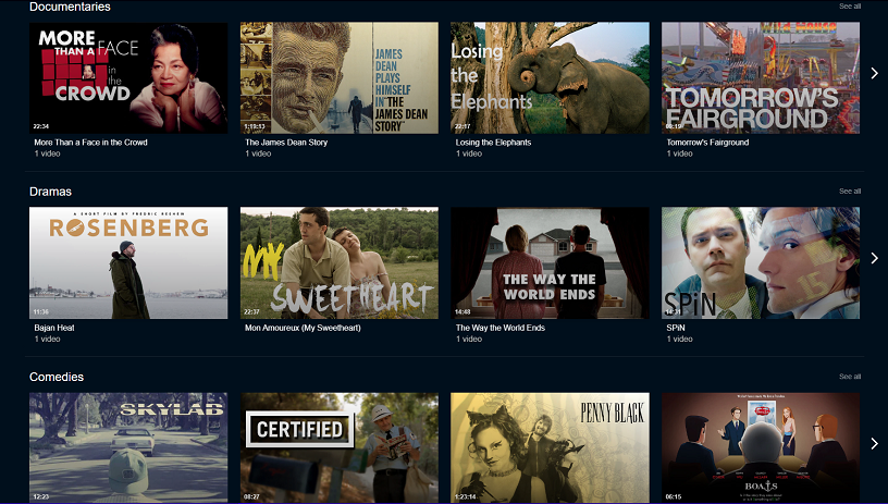 Image showing some content available from online provider IndieFlix